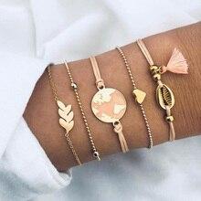 5Pcs/ Set Gold Love Shell Bracelets for Women beads Arrow Party Pink Map Tassels Rope Bracelet Fashion Female Jewelry Gift