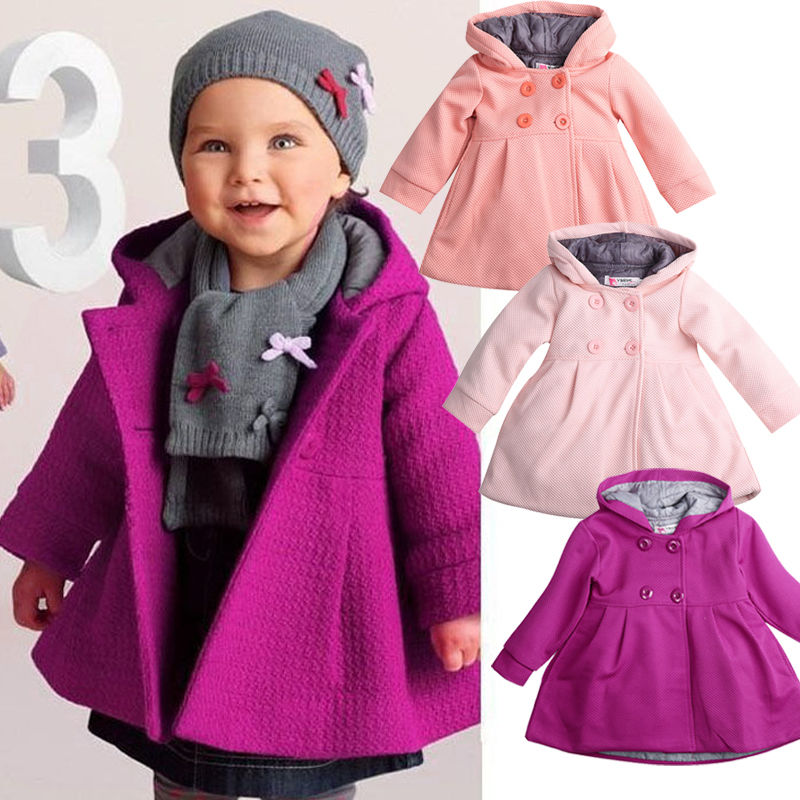 Toddler Baby Girl Winter Long Sleeve Warm Solid Jacket Hooded Outerwear Coat US