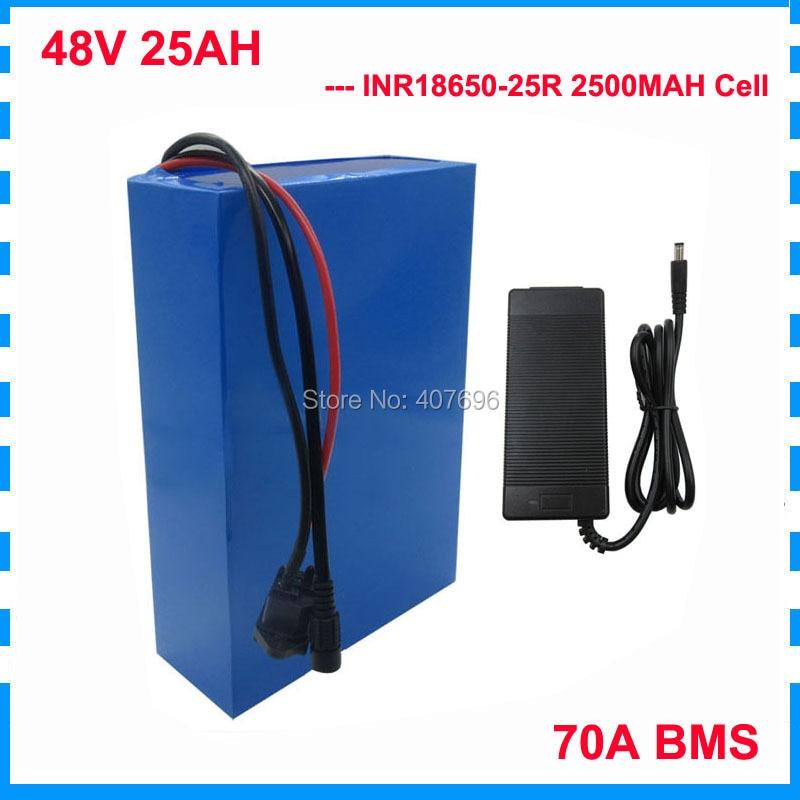 Frais de douane gratuits 3000W 48 V 25AH batterie 48 V lithium ion batterie 48 V ebike batterie INR 25R cellule avec 70A BMS 2A chargeur
