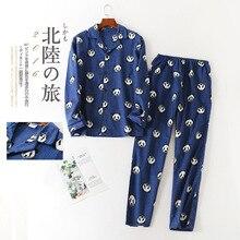 Plus Size Pijamas de Algodão Dos Homens Longo Inverno Calças Escovado Tecido Impressão Conjunto de Pijama Panda Pijama de mangas compridas Set Mansleepwear