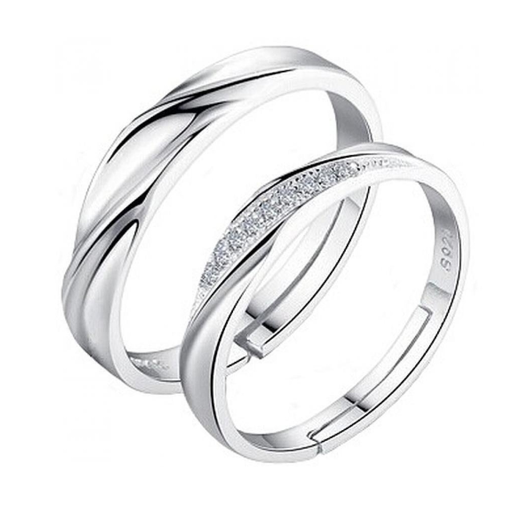 Silver-Color-Rings Couple Wedding-Ring Women High-Quality Jewelry Fashion New 1-Pair