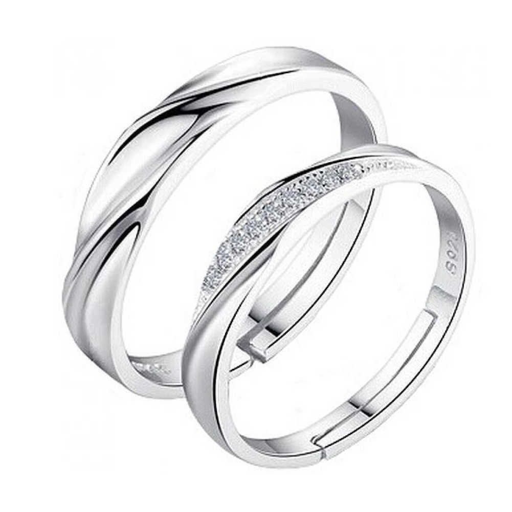 1 Pair High Quality Women Men New Wedding Ring Couple Silver-Color Rings Fashion Lover's Jewelry