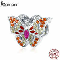 BAMOER 925 Sterling Silver Color Crystal CZ Butterfly Shape Beads Fit Women Charm Bracelets & Necklaces DIY Jewelry Gift SCC1023