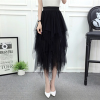 2019 Summer Women Half Skirt Slim High Waist Black Blue Mesh Elegant Casual Fashion Fluffy Skirt Autumn Winter Long Female H04