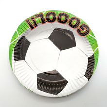 10Pcs Kids Favors Food Grade Paper Plates Decoration Happy Birthday Party Soccer BallFootball Baby Shower Disposable Tableware