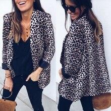 Women Slim OL Suit No Button Casual Leopard Jacket Coat Tops Outwear Long Sleeve