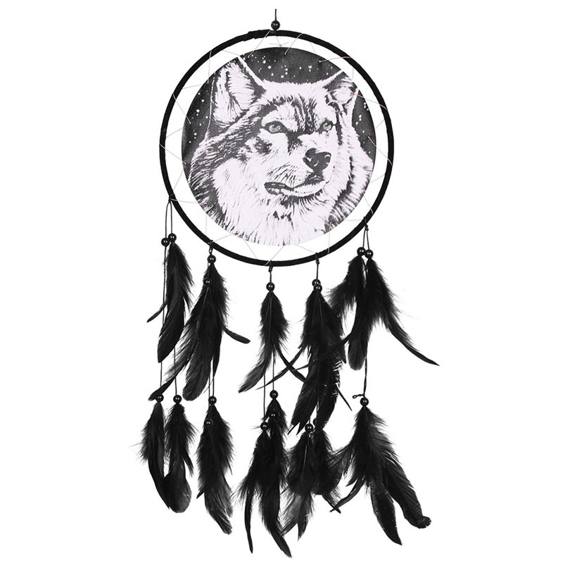 Dream Catcher Wolf Dream Catcher Black Dream Catcher Indian Dream Catcher With Animal Pattern Side 1 Circle Dreamcatcher Wall
