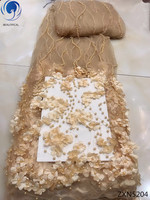BEAUTIFICAL 3d lace latest high quality african tulle lace fabric 2018 net laces fabrics with beads for women 5yards/lot ZXN52