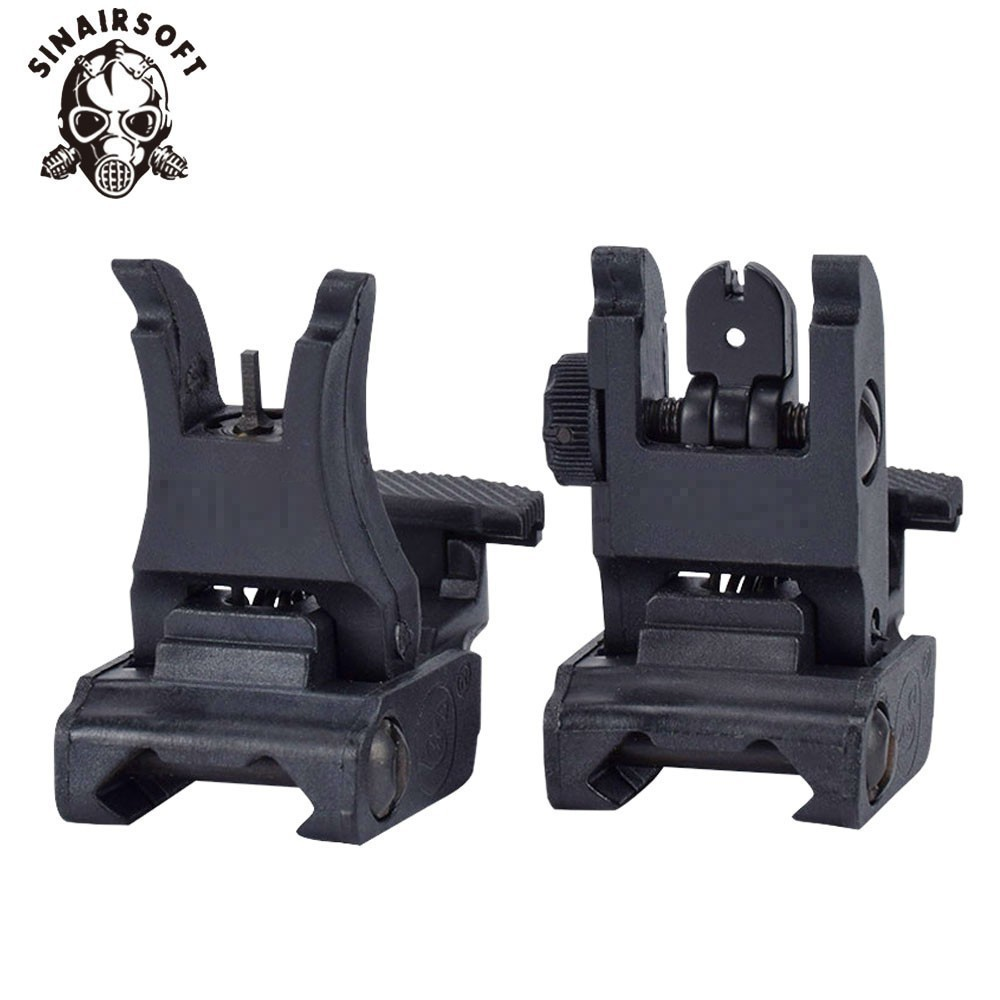 Tactical Folding Flip Up Sight Rear Front Sight Mount Transition Backup Iron Sight Rapid Rifle RTS For Paintball Accessories