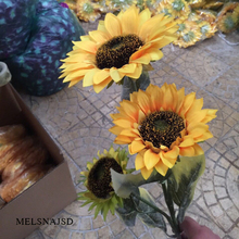 melsnajsd 3 Heads silk Sunflower Artificial Flower  Fake Flores Bouquet Plastic Flowers Decorate Party Wedding Decoration