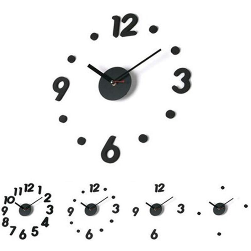 High quality DIY Modern Design 3D Big Size Wall Sticker Clocks Black Self Digit Dot Adhesive Wall Clock Living Home Decor