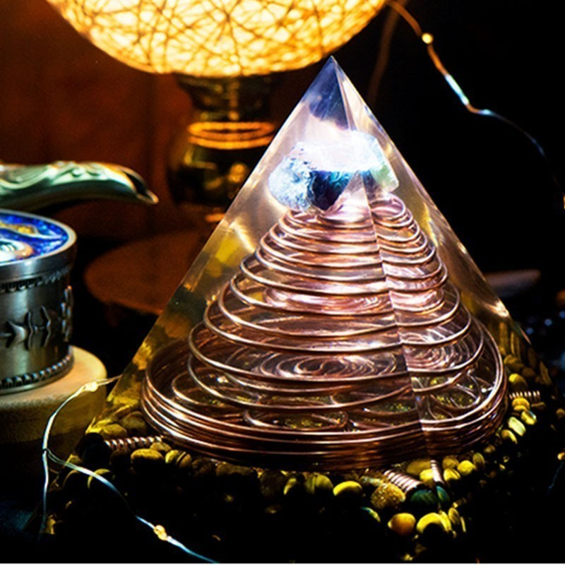 Gathering Orgonite Large Pyramid Multiple High Frequency Triple Helix Energy Tower Organ Resin Decorative Craft Jewelry Gifr