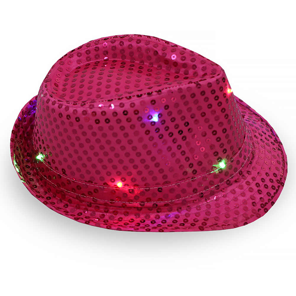 d51891463a7 ... Lights Falshing Cowboy Caps Party Bar Flashing Light up LED Cap Fedora  Trilby Sequin Hat MJ ...