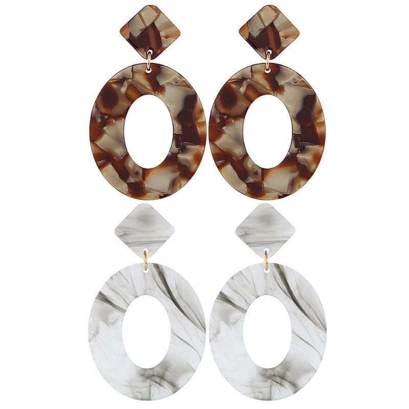 Vintage Hollow Out Drop Earrings  Acetate Oval Earrings Geometric Dangle Vintage Ear Drop Jewelry Women Gift Ear Jewelry