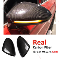 Real Carbon Fiber Rearview Door Side View Mirror Car Wing Mirror Replacement Cover Cap Fit For VW Golf MK7 MK7.5 GTI R 2013 2017