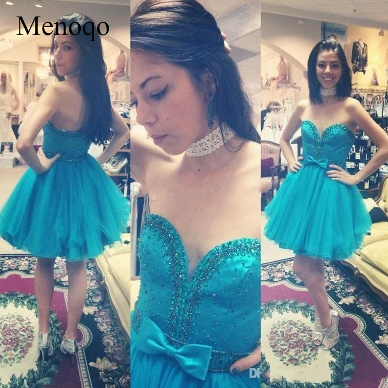 Menoqo Sweetheart Backless Beaded Sash Bow Mini Girls Prom Party Gowns   Cocktail     Dress   Vestidos De Fiesta