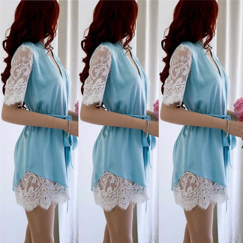 New Sexy Lady Summer mini Sleeping Dress  short sleeve lace patchwork Sleepwear Loose v neck Women Babydoll Lace Robe Nightgown