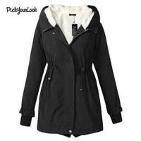 PickyourLook Casual Winter Warm Hooded Women Velvet Coat Long Sleeves Zipper Lady Vintage Trench Coat casaco feminino Overcoat