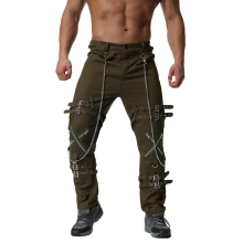 Autumn Winter Men Cotton Zip Off Leg Pants Steampunk With Zipper Decorated Waist