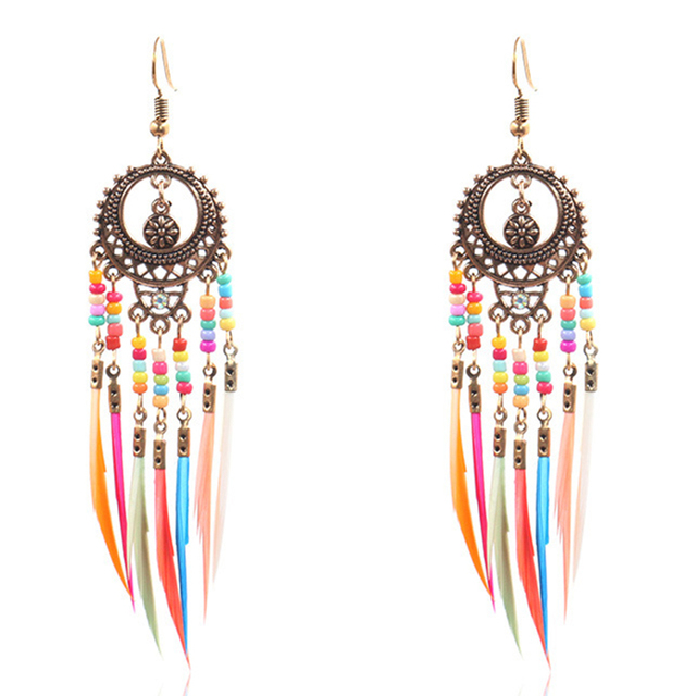 Ethnic Rainbow Feather Earrings Mawgie