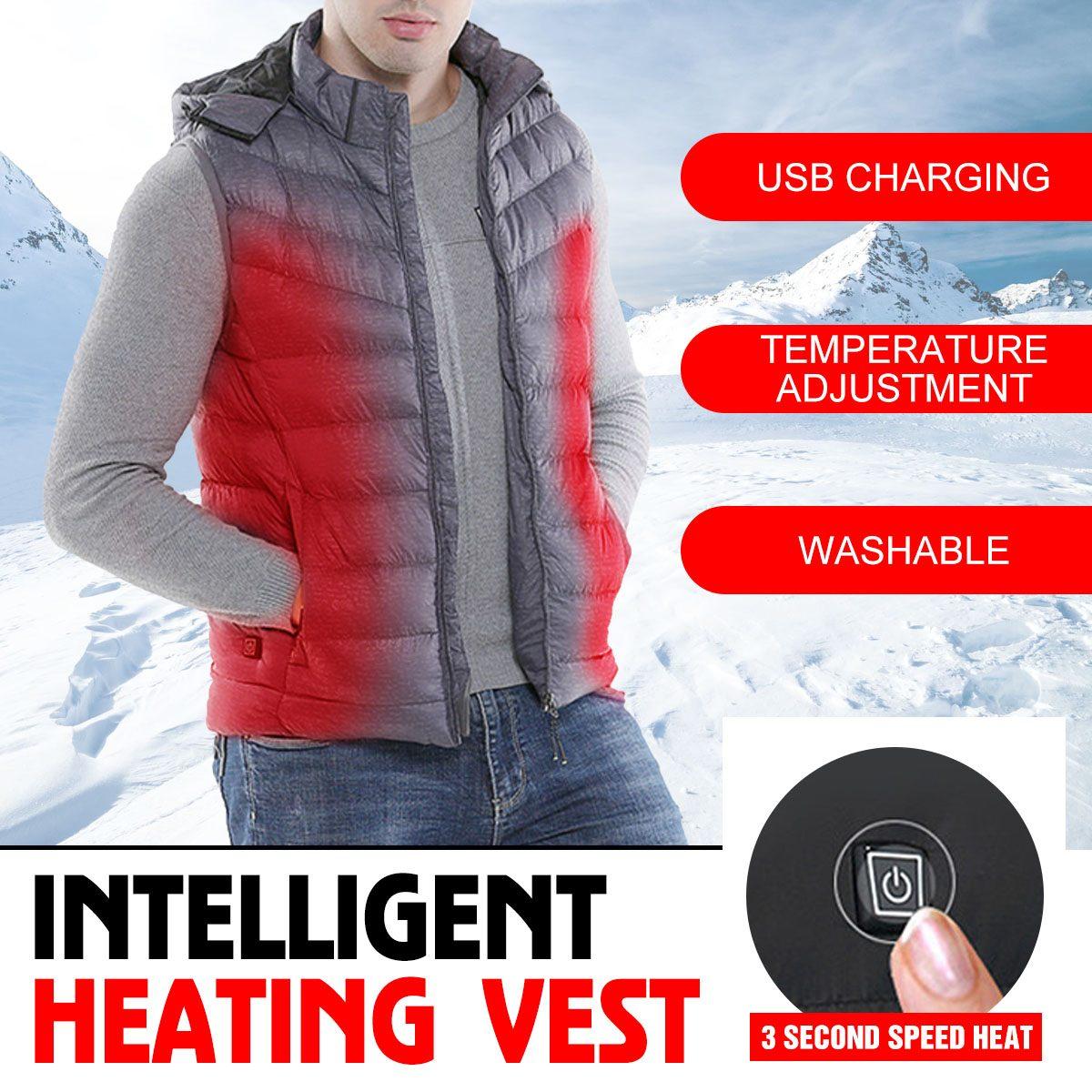 Мужские зимние с подогревом USB зарядка 3 режима капюшоном Рабочая куртка пальто для будущих мам жилет Регулируемый контроль температуры без...