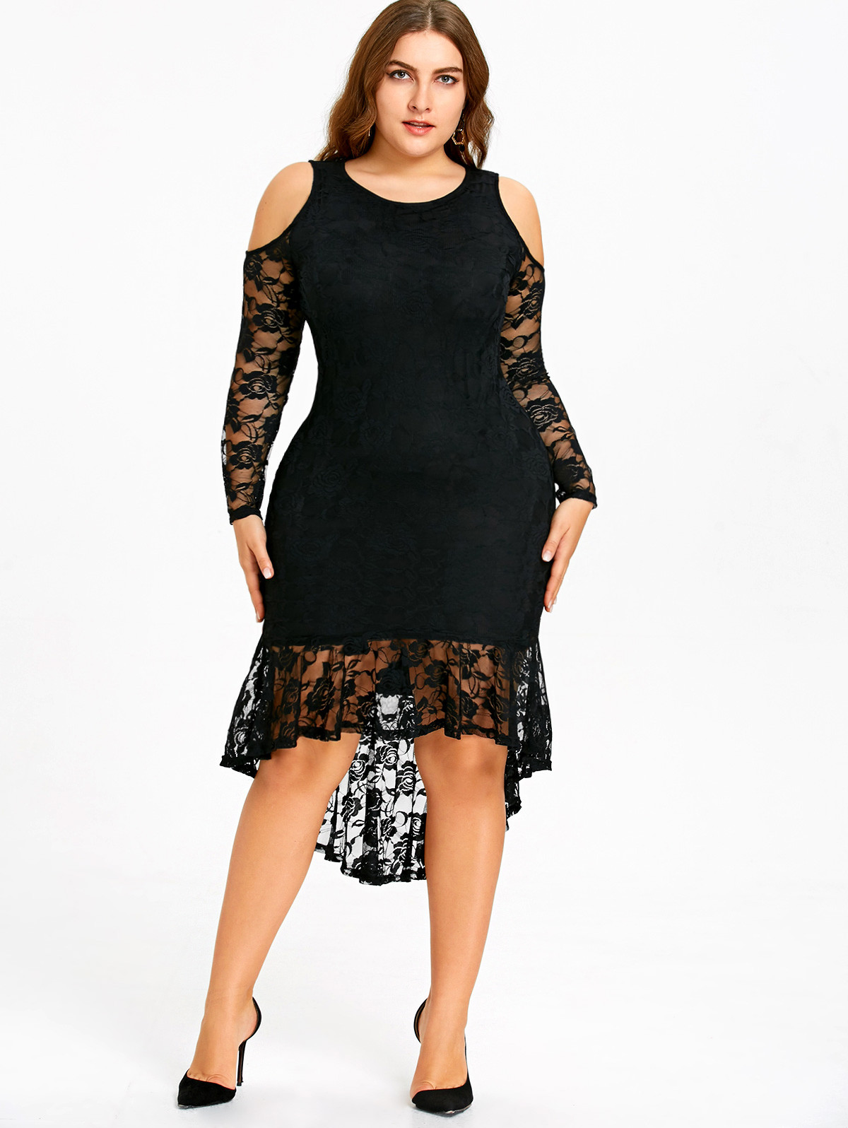 Wipalo Women 2018 New Fashions Plus Size 5XL Cold Shoulder Lace High Low Hem Dress Vestidos
