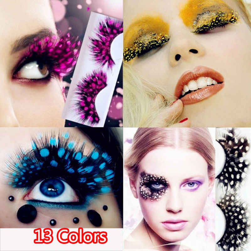 7ae87da0a10 Colorful Dot Feather Crazy False Eyelashes Long Costume Party Eye Lashes  Cosplay