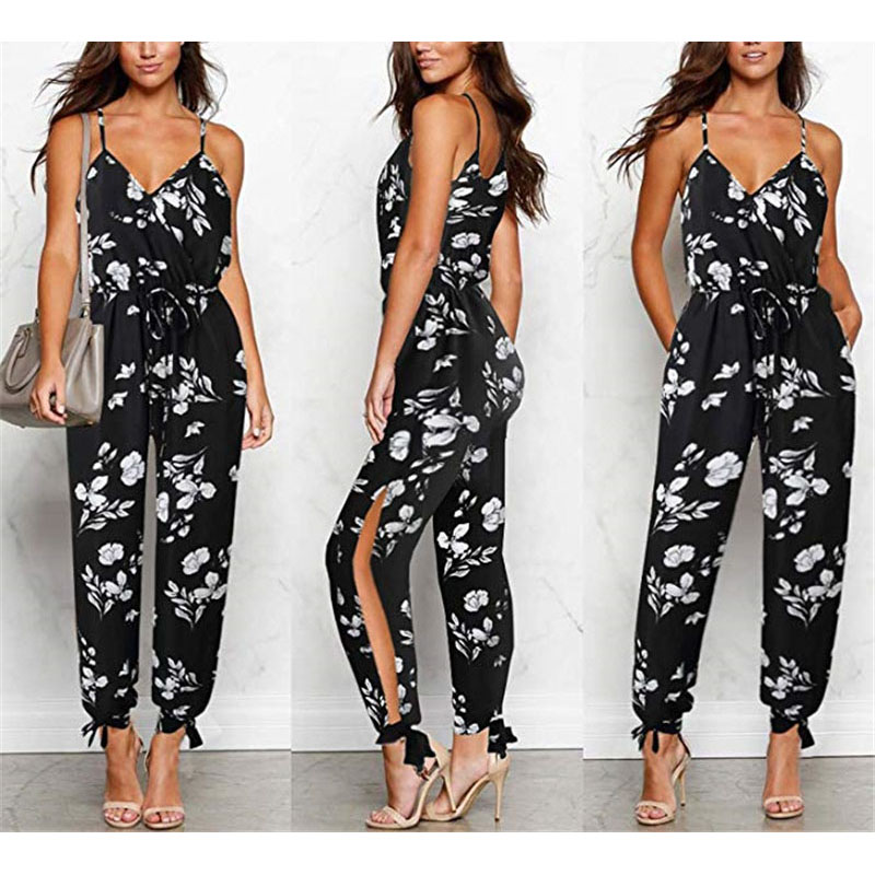 Sexy Sleeveless   jumpsuit   women long romper summer floral trousers beach   jumpsuit   lace up coveralls female frock plus size S-3XL