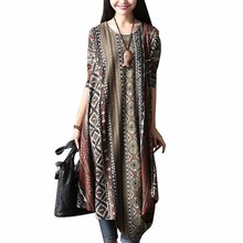 ZANZEA Women O Neck Long Sleeve Retro Floral Print Asymmetric Hem Midi Dress Autumn Leisure Beach Kaftan Vestido Plus Size 5xl