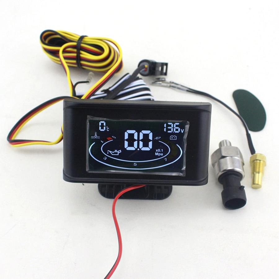 ЖК дисплей 3 в 1 Манометр 12 В/24 В Автомобильный манометр давления масла + вольтметр измеритель величины напряжения + измеритель температуры в