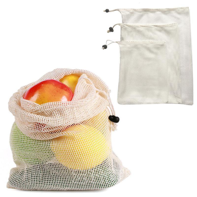 Reusable Mesh Produce Bag Washable Eco Friendly Bags For Fruit Vegetable Potato Garlic Onion Grocery Portable Shopping Pouch