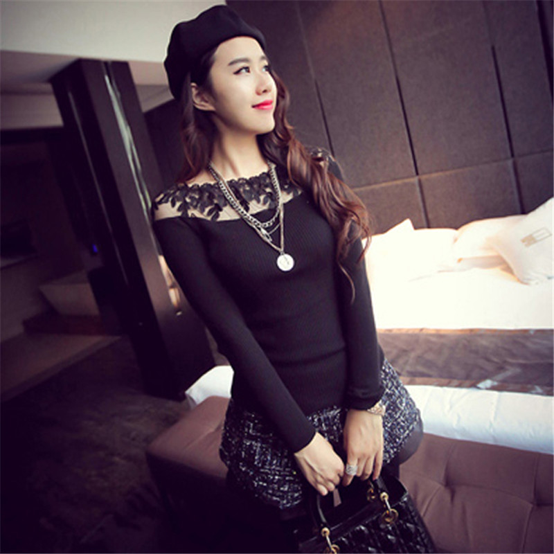2018 Pull Femme Women Striped Knit Sweater Autumn Long Sleeve Off Shoulder Sexy Hollow Lace Crochet