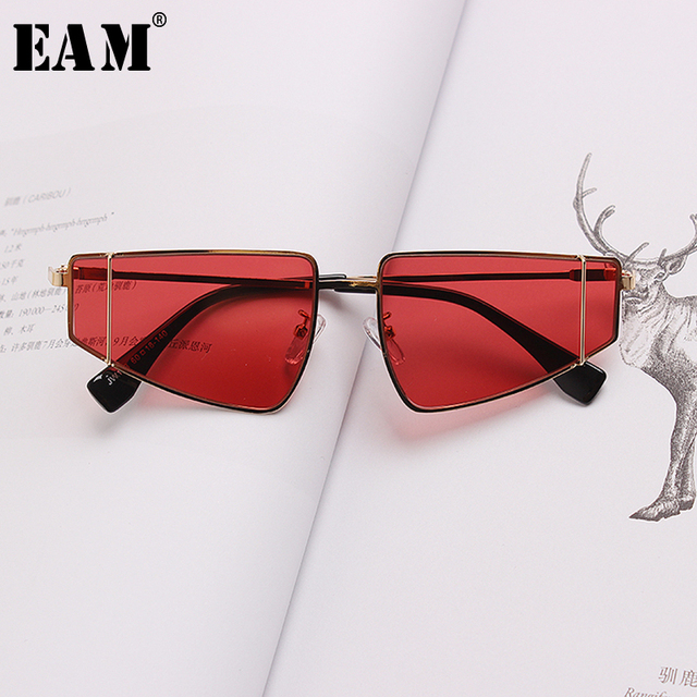 [EAM] 2019 New Spring Summer Trendy 5 Colors Yellow Split Joint Cool Personality Glasses Women Fashion Tide All-match JS632
