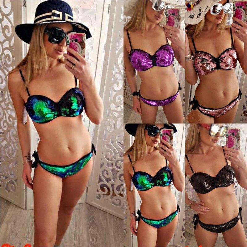 Женский купальник, бикини с блестками и пуш апом, зеленый, фиолетовый, розовый, черный Купальники        АлиЭкспресс