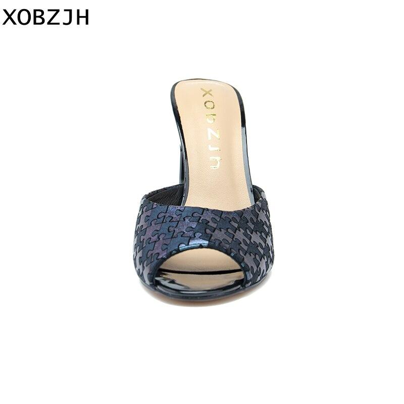 2c76b84c096c5b Luxe Chaussons Paris D'été Mariage Nous Chaussures De Bleu Sandales 2019 En Cuir  Femme Grande Taille ...