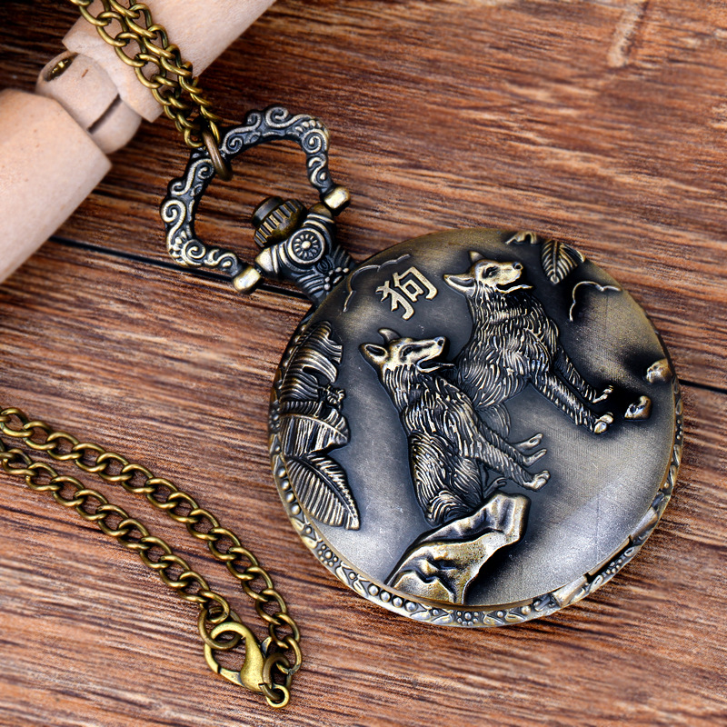 Pocket & Fob Watches Chinese Zodiac Animal Dog Wolf  Quartz Pocket Watches Vintage Fob Watches  Gift for Men/Women