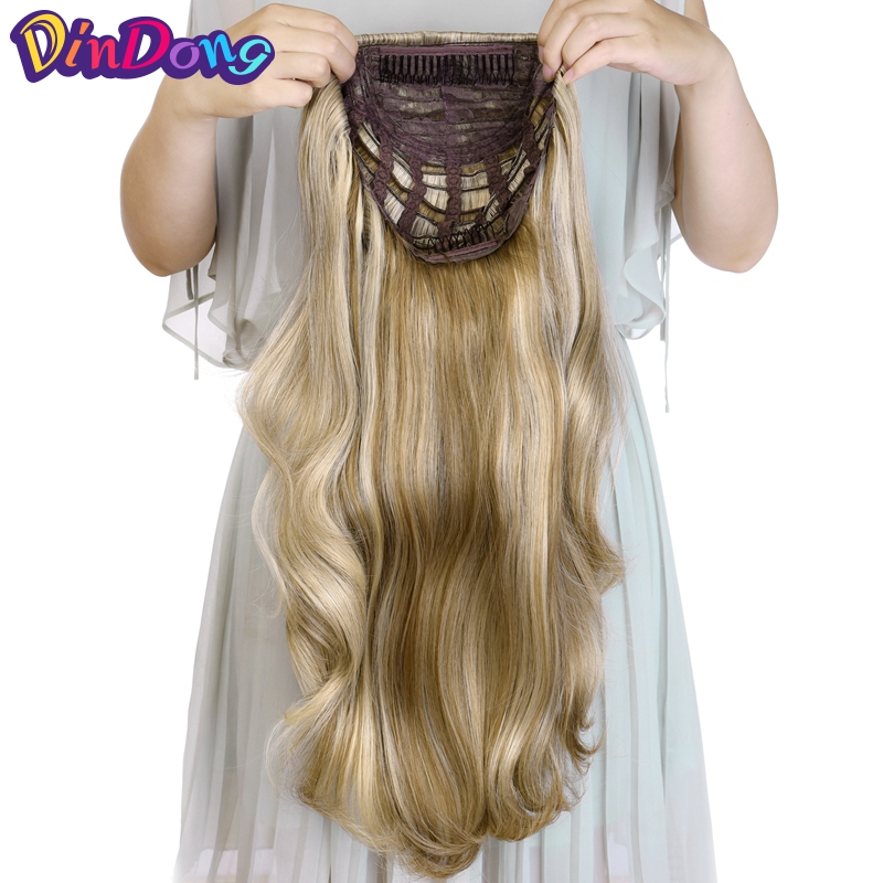 "DinDong 24"" Curly 3/4 Ladies Half Wig Hair Synthetic Wigs With Comb On A Mesh Head Cap Clip In Hair Extensions"