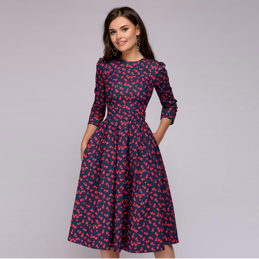 Girls's Retro Floral Seven-point Sleeve Spherical Neck Gown Girls's Clothes Elegant A-line Gown 2019 Classic printing social gathering Clothes, Low cost Clothes, Girls's Retro Floral Seven level Sleeve Spherical...