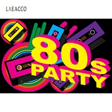 Laeacco Colorful 80's Young Party Backdrop Photography Backgrounds Customized Photographic Backdrops For Photo Studio