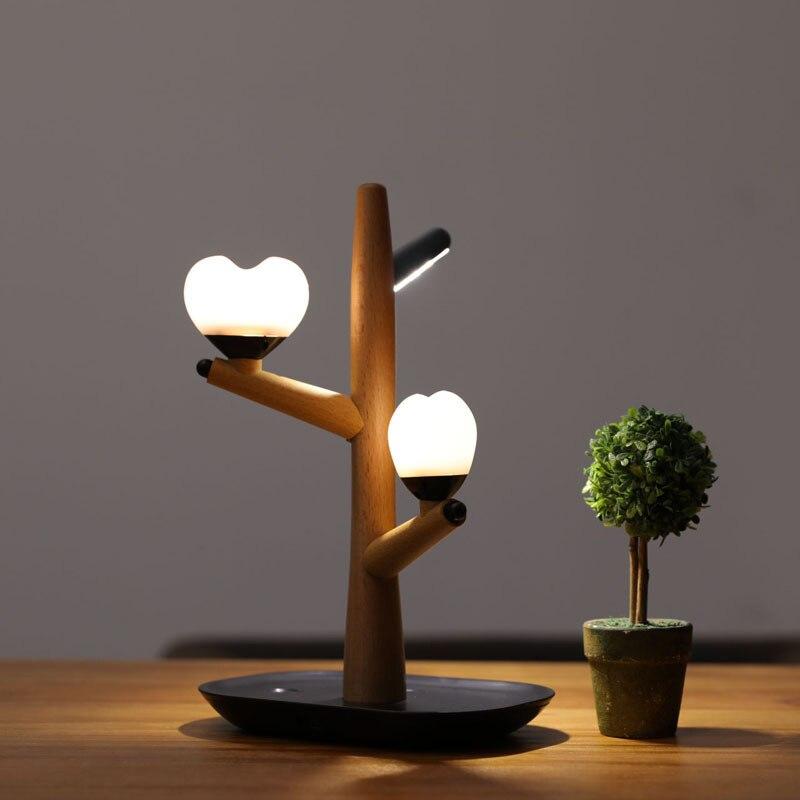 Treant Body Induction petite veilleuse Usb Charge chambre chevet décoration avec sommeil lampe de bureau bois massif ambiance amoureuse