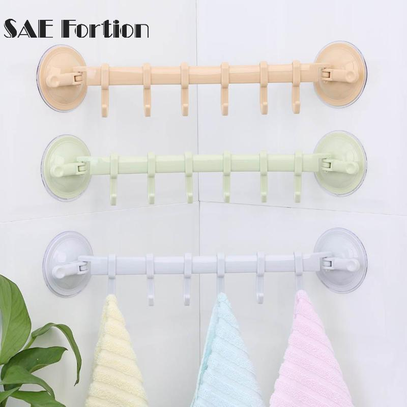 Adjustable 6 Hook Suction Cup Bath Towel Hanger Rack Hanging Shelves Holders Lock Type Sucker Bathroom Kitchen Hook Organizer