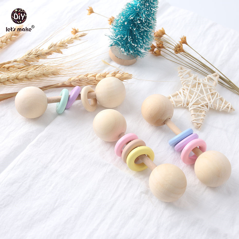 Big Sale  Let's Make Baby Toys 1pc Rattle Speelgoed Wood Rings Montessori Toys For Babies Gift Teething Woode