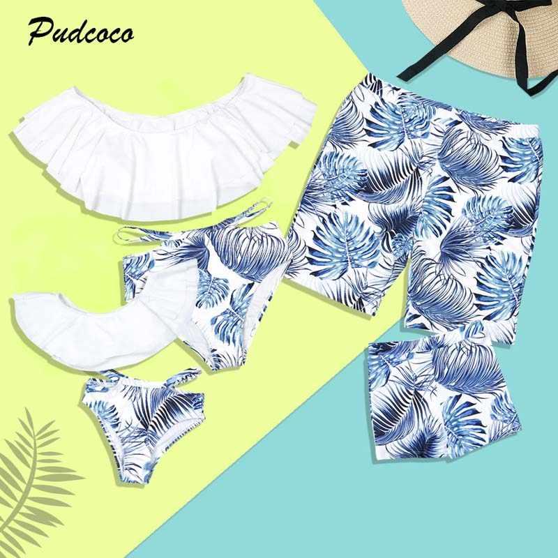 df22fe537f 2019 Brand Family Matching Swimsuit Women Girls Bikini Set Men Boy Shorts  Mom Dad Son Daughter