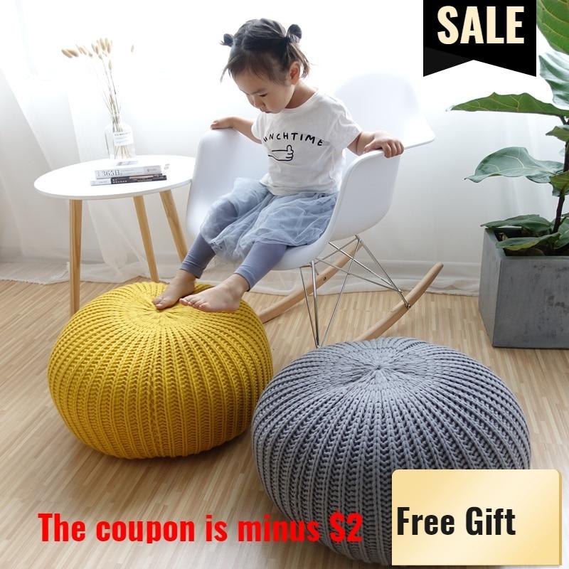 50cm Hand Knit Bean Bag Pouf Round Floor Outdoor Pillow Kids Daybed Teen Cushion Playroom Crochet Ottoman S Gift Dropshipping цены