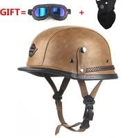 Adult vintage Open Face Half Leather Helmet Moto Motorcycle Helmets Motorcycle Motorbike Vespa