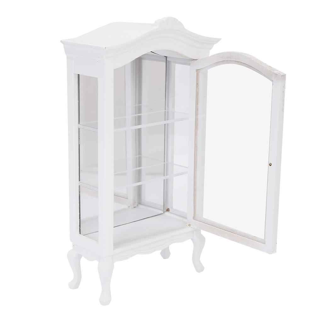 Wooden Doll House Cabinet Furniture 1:12 Doll House Mini White Three Layers Transparent Window  Display Cabinet for Dolls