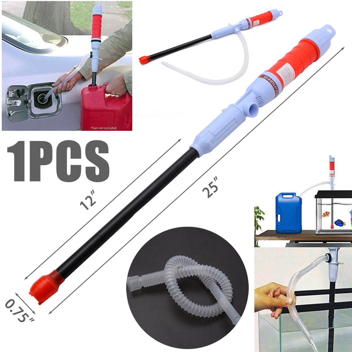 Hand Movement Outdoor Portable Car Oil Fuel Sucking Pipe Pump Electric Pumping Sucker Pump Pipe Pump for Liquid Transfer Travel in Pumps from Home Improvement