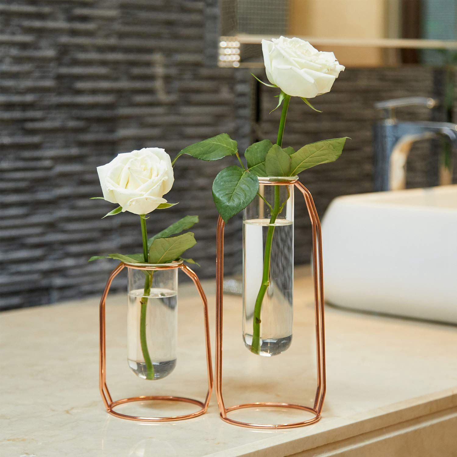 Set Of 2 Metal Wired Pen Brushes Holder Unique Cylinder Vases Design Desk Stationery Organizer Glass+Metal For Decor