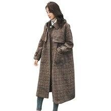 Wool Blend Lattice Jacket Coat Women Autumn Winter Loose Vintage Long Windbreaker Brown Thick Overknee Woollen Overcoat HJ17