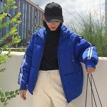 Female Student Warm Short Cotton Jacket Parka Fashion Winter Jacket Coat Women Stripe White Plus Size Padded Overcoat Ls264